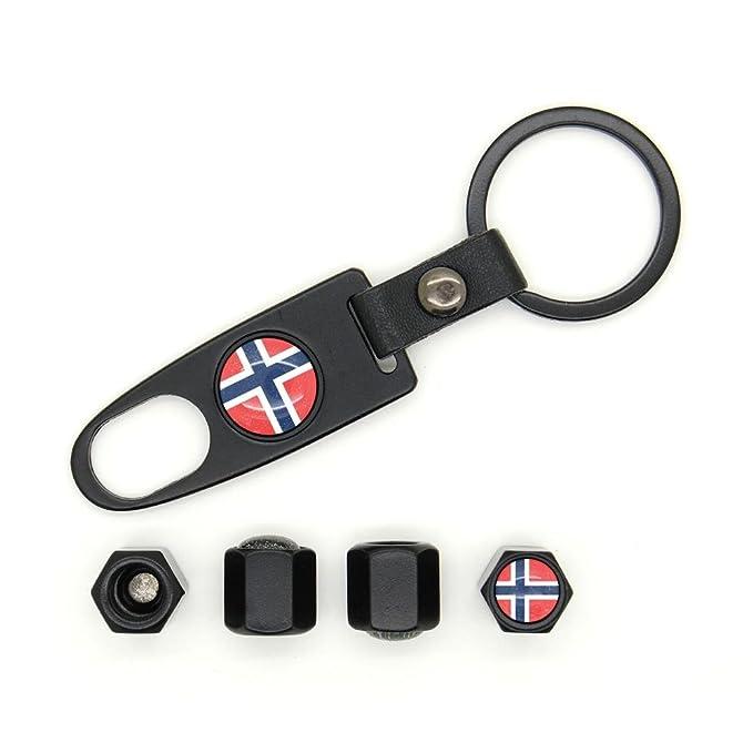 Lote de 4 tapas de válvulas con logotipo y Noruega llavero ...
