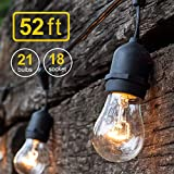 Amico 52FT Outdoor String Lights, Commercial Grade Weatherproof Yard Lights, 18 Hanging Sockets (3 Extra Bulbs Free) 11W Dimmable Incandescent Bulbs, UL Listed Patio Bistro Market Café Lights