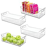 mDesign Wide Plastic Kitchen Pantry Cabinet, Refrigerator or Freezer Food Storage Bin with Handles - Organizer for Fruit, Yogurt, Snacks, Pasta - BPA Free, 16' Long, 4 Pack - Clear