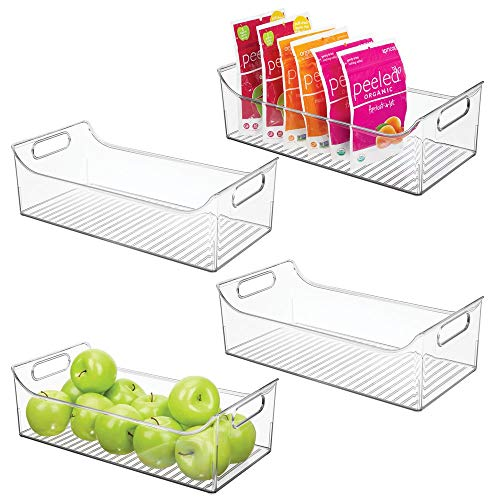 mDesign Wide Plastic Kitchen Pantry Cabinet, Refrigerator or Freezer Food Storage Bin with Handles - Organizer for Fruit, Yogurt, Snacks, Pasta - BPA Free, 16 Long, 4 Pack - Clear