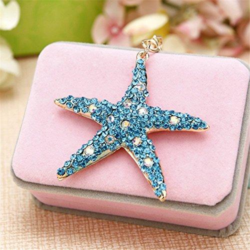 (Axmerdal Women Clothing Decorations Accessories Crystal Sea Star Starfish Key Chain Rhinestone Purse Charm Pendant Bag Key Ring Women Gift)