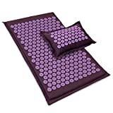 ProsourceFit Ki Acupressure Mat and Pillow Set with 100% Natural Linen for Back/Neck Pain Relief and Muscle Relaxation, Royal Lilac