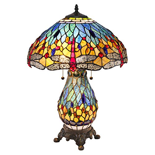 Serena D'Italia Elegant Tiffany Style Blue Glass with Red Dragonfly Table Lamp, Handcrafted in The Antique Style of Louis Comfort Tiffany (Dragon Fly Lamp)