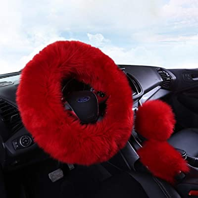 Multicolor Fuzzy Steering Wheel Cover Fuzzy Car Accessories, Universal Fit Car Steering Wheel Cover (Burgundy): Automotive