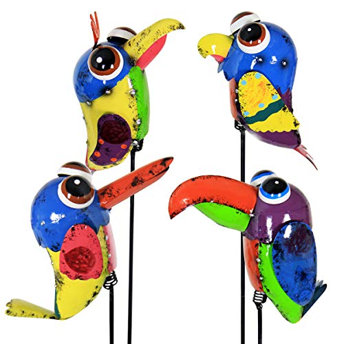 Exhart Birds Garden Stakes Multicolored 4-Piece - Feathered Flockers Garden Bird Stakes in Colorful Abstract Design - Hand-Painted Garden Stakes Set, Charming Metal Outdoor Decor, 7