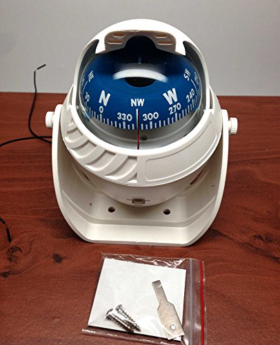 MARINE BOAT NAUTICAL SPORT WHITE LIGHTED COMPASS WITH BRACKET VISIBLE LUBER LINE