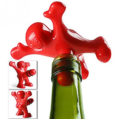 5 pcs/lot Plastic Red happy man Wine Bottle Stoppers Recy...