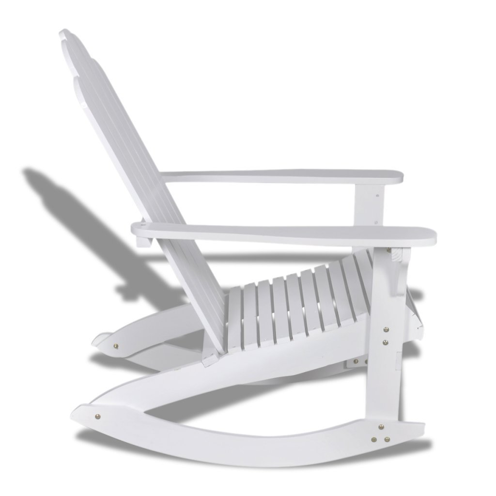white wooden rocking chair. VidaXL Wood Rocking Chair White With Armrest Garden Patio Outdoor Indoor Rocker: Amazon.co.uk: Kitchen \u0026 Home Wooden N