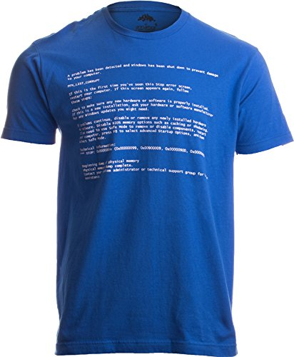 Nerds Tee T-shirts - BLUE SCREEN OF DEATH Adult Unisex T-shirt / Geeky Windows Error Nerd Computer Tee Shirt M