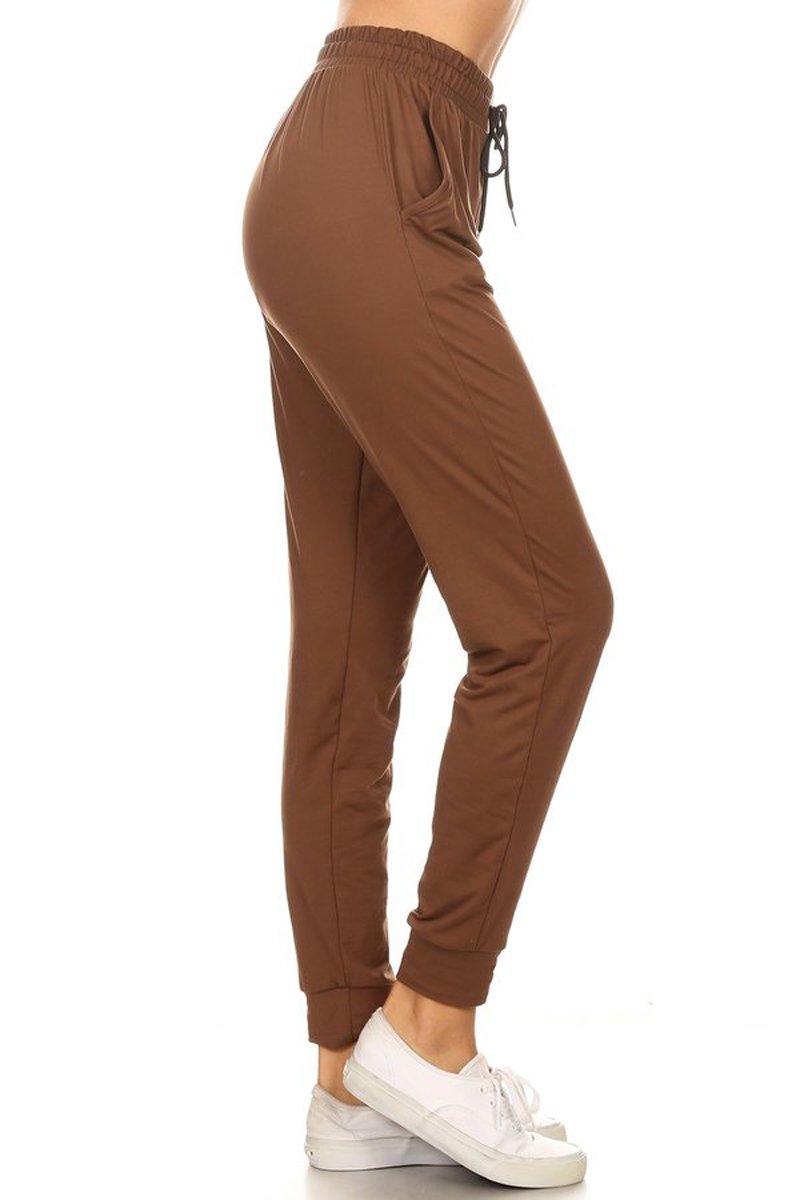 Leggings Depot Women's Printed and 3-Stripes Activewear Jogger Track Cuff Sweatpants Inner Pockets (Mocha, Medium)