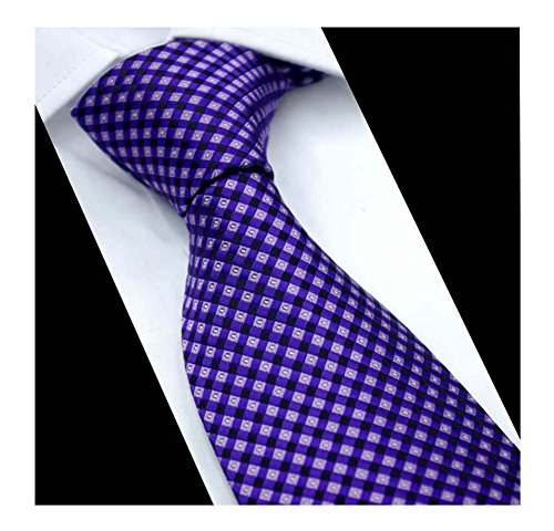 Mens Boys Violet Purple Gingham Silk Ties Skinny Woven Gentlemen Novelty (Purple Plaid Woven Shirt)