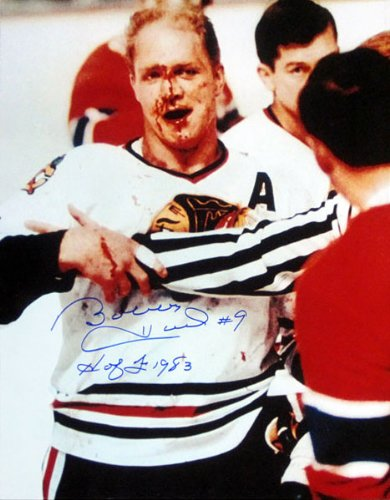 Bobby Hull H of F 1983 Autographed Bloody 16x20 Photo