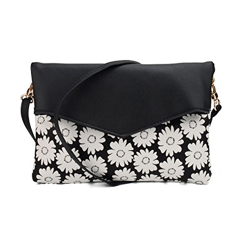 Jiaruo Foral Ladies Women Envelope Messenger bags Slim Shoulder Purse (daisy black) Daisy Handbag Purse