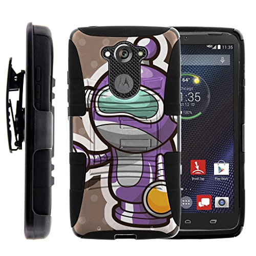 TurtleArmor | Motorola Droid Turbo Case | XT1254 | Moto MAXX Case [Hyper Shock] Armor Solid Hybrid Cover Stand Impact Rubber Holster Belt Clip Robot Android Design - Space Robot by TurtleArmor