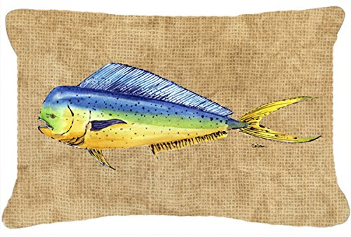 Caroline's Treasures 8810PW1216 Dolphin Mahi Mahi Canvas Fabric Decorative Pillow, 12H x16W, Multicolor - Dolphin Mahi Mahi Canvas Fabric Decorative Pillow Ships from our store in Mobile, AL usually in 24-48 hours. Transit times are usually about 2-3 days. Approximately 12 inch x 16 inch 100% Polyester Fabric pillow Sham with pillow form Hand Made Indoor / Outdoor Fabric. Fade Resistant. - patio, outdoor-throw-pillows, outdoor-decor - 51GL1kzlCIL -