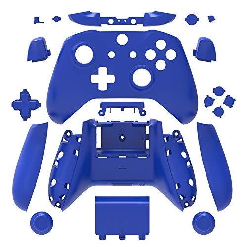 WPS Matte Case Housing Full Shell Set Faceplates + ABXY Buttons + RB LB Bumpers + Right/Left Rails for Xbox One S Slim (3.5 mm Headphone Jack) Controllers (Blue) (Blue Buttons Xbox)