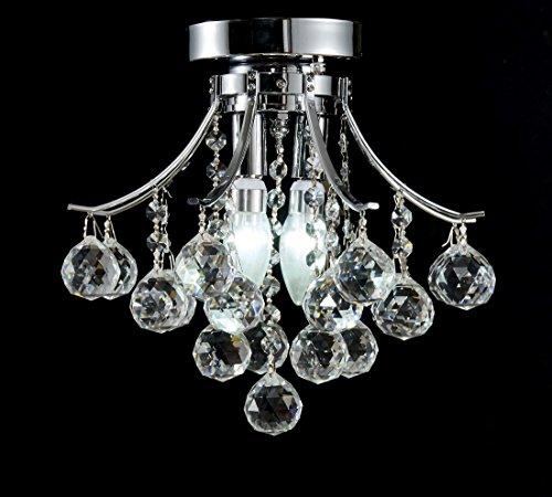 Top Lighting Modern Style 2-Light Chrome Finish Crystal Chandelier Flush Mount Ceiling Light Fixture W12″ x H10″