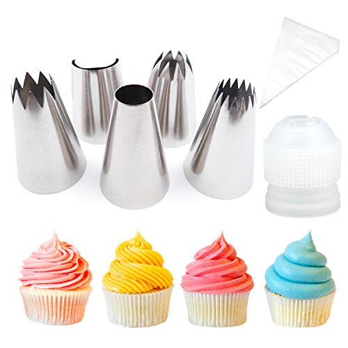Pridebit Cupcake/Cake Decorating Tips [5 Extra Large] [4 Classic Tips+1 Ruffle Tip] Stainless Steel Piping Icing Tips 1 XL COUPLER 10 Disposable Pastry Bag