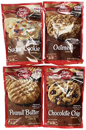 Betty Crocker Cookie Mix Variety Pack of Popular Flavors: (1) Chocolate Chip Cookie Mix + (1) Peanut Butter Cookie Mix + (1) Oatmeal Cookie Mix + (1) Sugar Cookie Mix. (4 flavors per order) - Peanut Butter Cookie Mix