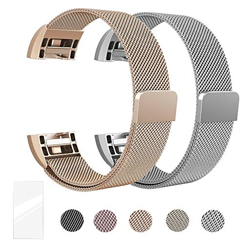 (Metal Bands Compatible for Fitbit Charge 2 Bands, Milanese Stainless Steel Mesh Magnetic Replacement Strap Small & Large w/Screen Protector for Women Men,Mother's and Father's Gift)