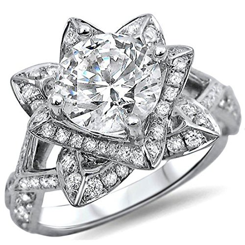 Smjewels 1.50 Ct Round Cut Lotus Flower Sim.Diamond Engagement Ring In 14K White Gold Plated by Smjewels