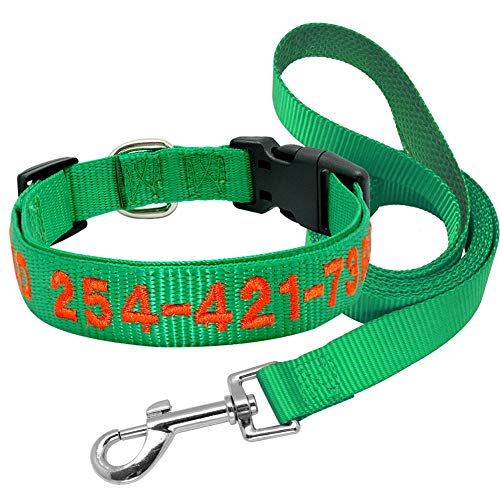 SOCHII Dog Collar Leash Set Nylon Personalized Embroidered Pet Dog Collars Customized Puppy Collar Adjustable for Small Large Dogs Pink Green Set L Custom Embroidered Nylon Jacket