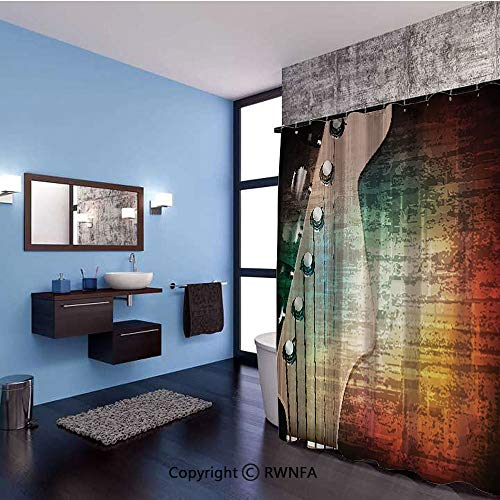 AngelSept Home Decor Shower Curtain Abstract Grunge Retro Background with Headstock and Tuning Pegs Blues Jazz Musician Polyester Fabric Bathroom Set with Hooks,71x79inch,Multicolor