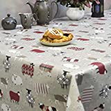 Woolly Jumpers Beige Wipe Clean PVC Oilcloth Tablecloth - 130cm wide - Price per half metre by Franclaire Fabrics