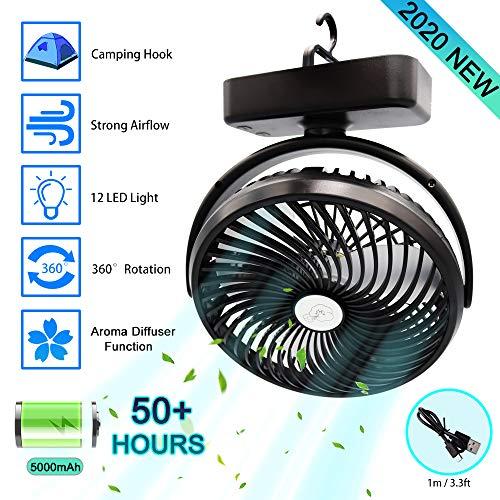 USB Ventilator, leise Tischventilator klein, 5000mAh Akku aufladbar, Mini Ventilator, Camping Ventilator mit LED Licht, 360° Rotation, tragbar und persönlich für Büro, Zuhause, Küche, Haken Design
