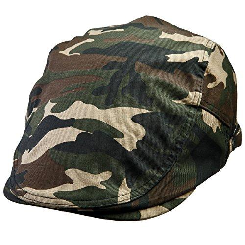 Samtree Unisex Newsboy Cap,Military Camouflage Solid Color Duckbill Ivy Gatsby Hat(01-Woodland (Forest Green Corduroy)