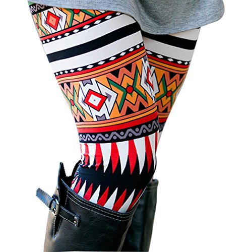 Women Lady Skinny Xmas Christmas Deer Print Stretchy Jegging Pants Slim Geometric Leggings(Red-2, CN M(US S))