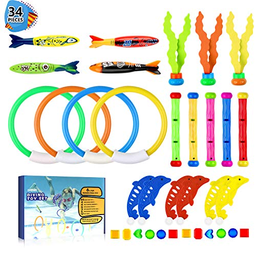 OHFUN 34 Pack Diving Pool Toy Underwater Swimming Diving Rings(4) Diving Sticks(5) Toypedo Bandits(4) Aquatic Dive Balls(3) Diving Dolphin(6) with Under Water Treasures (12) Gift Set Bundle