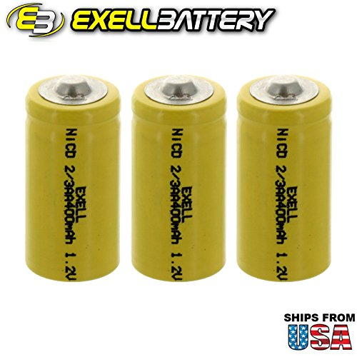 3x Exell 2/3AA 1.2V 400mAh NiCD Button Top Rechargeable Batteries for mobile phones, pagers, medical instruments/equipment, electric tools and toys, electric razors, toothbrushes, meters, radios