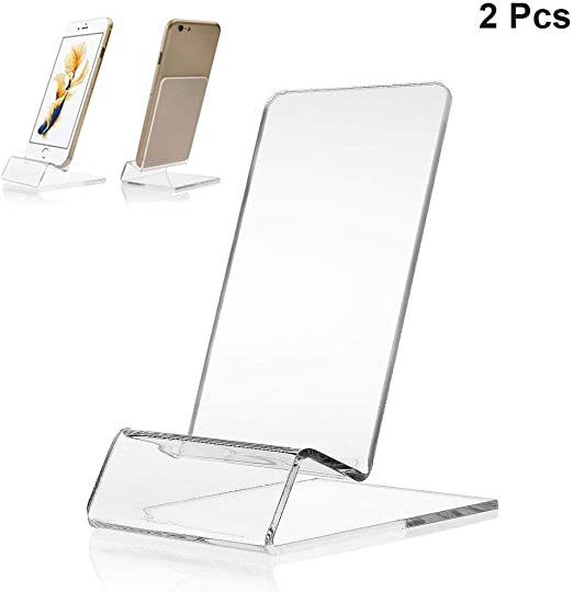 """6.5/"""" Height Transparent Double Clip Adjustable Sign Card Display Holder Stand"""