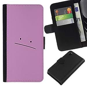 NEECELL GIFT forCITY // Billetera de cuero Caso Cubierta de protección Carcasa / Leather Wallet Case for Sony Xperia Z3 D6603 // Cara rosada triste