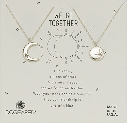 Dogeared Women's We Go Together, Crecent and Star Disc with Crystal Set of 2 Necklaces Sterling Silver One Size