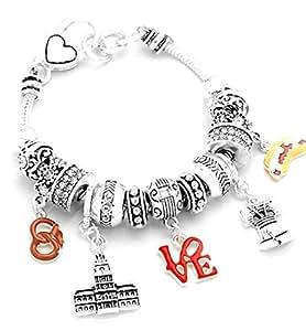 Philadelphia Charm Bracelet Z11 Clear Crystal Liberty Bell Independence Hall