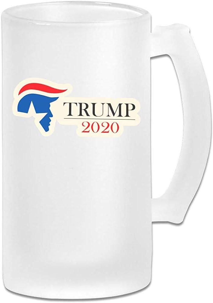 Trump 2020 Cristalería para bares Impreso 16.9 Oz Copa de cerveza de vidrio esmerilado Taza con asas Vaso de jugo de bebidas