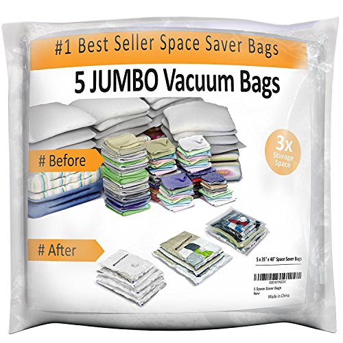 Home Complete Vacuum Storage Bag Bundle   5 Space Saver Bags   Save Closet Space With Airtight Bags