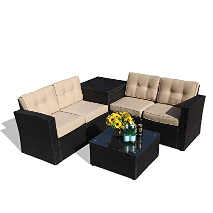 Groovy Patiorama Outdoor Furniture Sectional Sofa Set 6 Piece Set All Weather Black Wicker With Beige Seat Cushionsglass Coffee Tablestorage Table Home Interior And Landscaping Ponolsignezvosmurscom