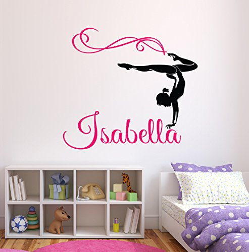 Gymnastics Decals - Custom Gymnastics Name Wall Decals - Girls Kids Room Decor - Nursery Wall Decals - Wall Decor for Teen Girls (24Wx22H)