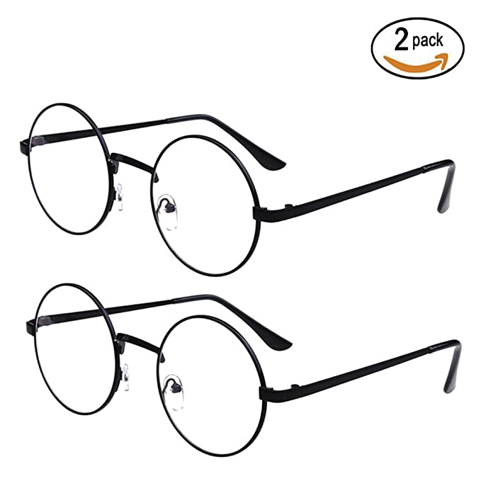 85b332fca3e Scorpiuse 2 Pack Women s Round Circel Clear Lens Glasses Metal Frame  Eyeglasses (Black