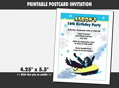 Snow Tubing Birthday Party Invitation, Printable (Party Tubing Birthday Snow)