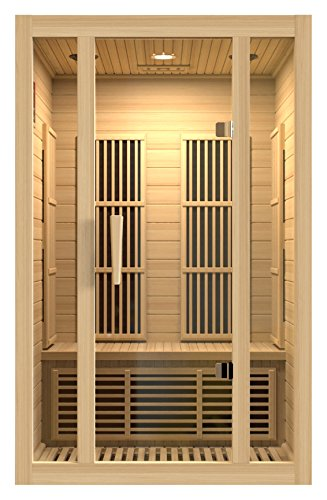 Cheap Maxxus Saunas MX-J206-01 Seattle Carbon Far Infrared Sauna for 2 Persons, Hemlock Wood