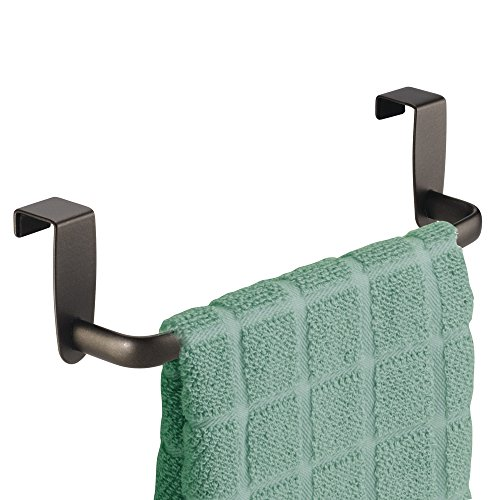 mDesign Kitchen Over Cabinet Metal Towel Bar - Hang on Inside or Outside of Doors, for Hand, Dish, and Tea Towels - 9.75 Wide - Bronze