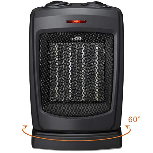 HOME-CHOICE Small Ceramic Oscillating Space Heater Electric Portable Heater Fan For Home Office Desktop with Adjustable Thermostat Control,750W 1500W – Rotates 60