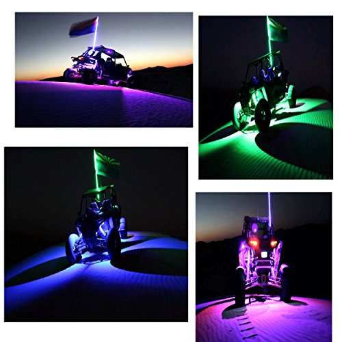 Night Rider--4' RGB 200 LED Light Whip w/ Safety Flag with Wiring Harness (Illuminati Light 4)