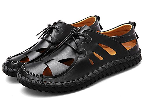 leather casual non slip beach sandals new shoes 2017 male breathable shoes Black leather xSwRTITq