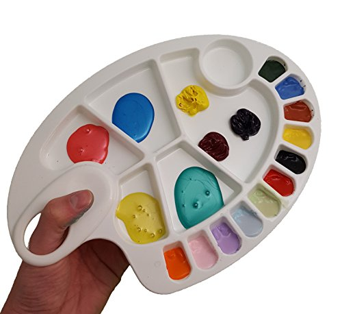 Plastic Paint Palette - Best For Watercolor, Acrylic & Oil Painting, Lightweight And Easy To Use, Suitable For Kids And Adults, Compact size with thumb hole and versatile wells, Makes A Great Gift. (Acrylic Painters)