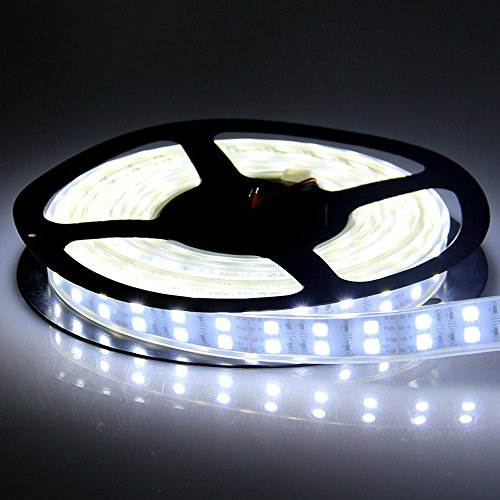 LEDENET 5M Double Row 600LEDs SMD 5050 LED Flexible Strip Lighting DC 12V Cold Cool White Waterproof Outdoor Use